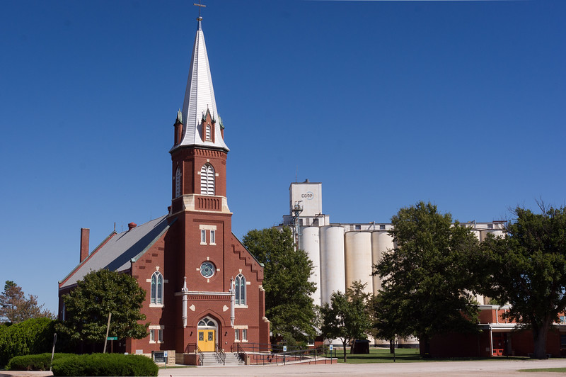 Immaculate Conception Church and grain silos in Danville, Kansas(?)