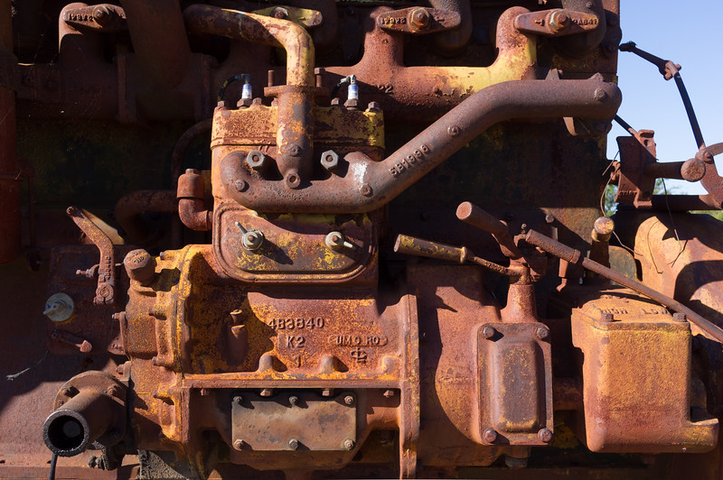 Detail view of old Caterpillar engine. Big Brutus mining museum display, West Mineral, Kansas.