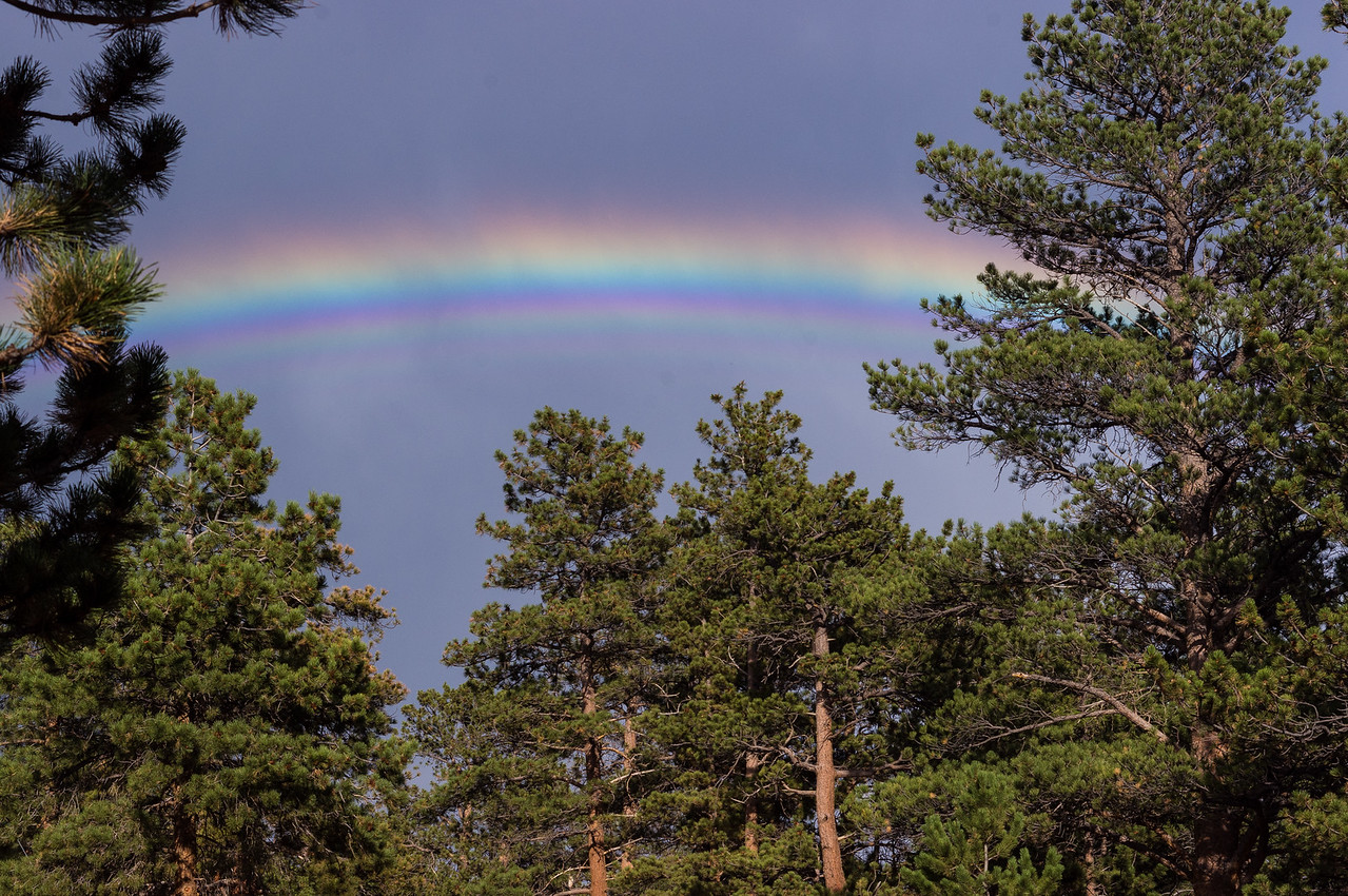 Rainbow seen from the Moraine Campground, Rocky Mountain National Park, Colorado.