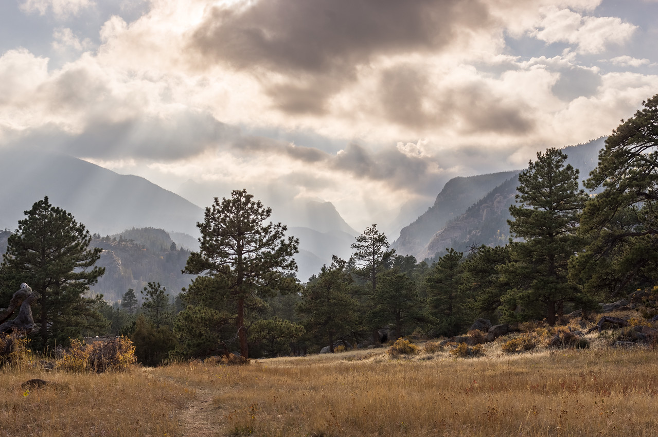 Mountains with heavy weather as seen from the Moraine Campground, Rocky Mountain National Park, Colorado. HDR processing with Lightroom.
