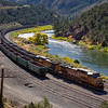 Union Pacific train beside the Colorado River. Highway 131, south of Yampa, Colorado.