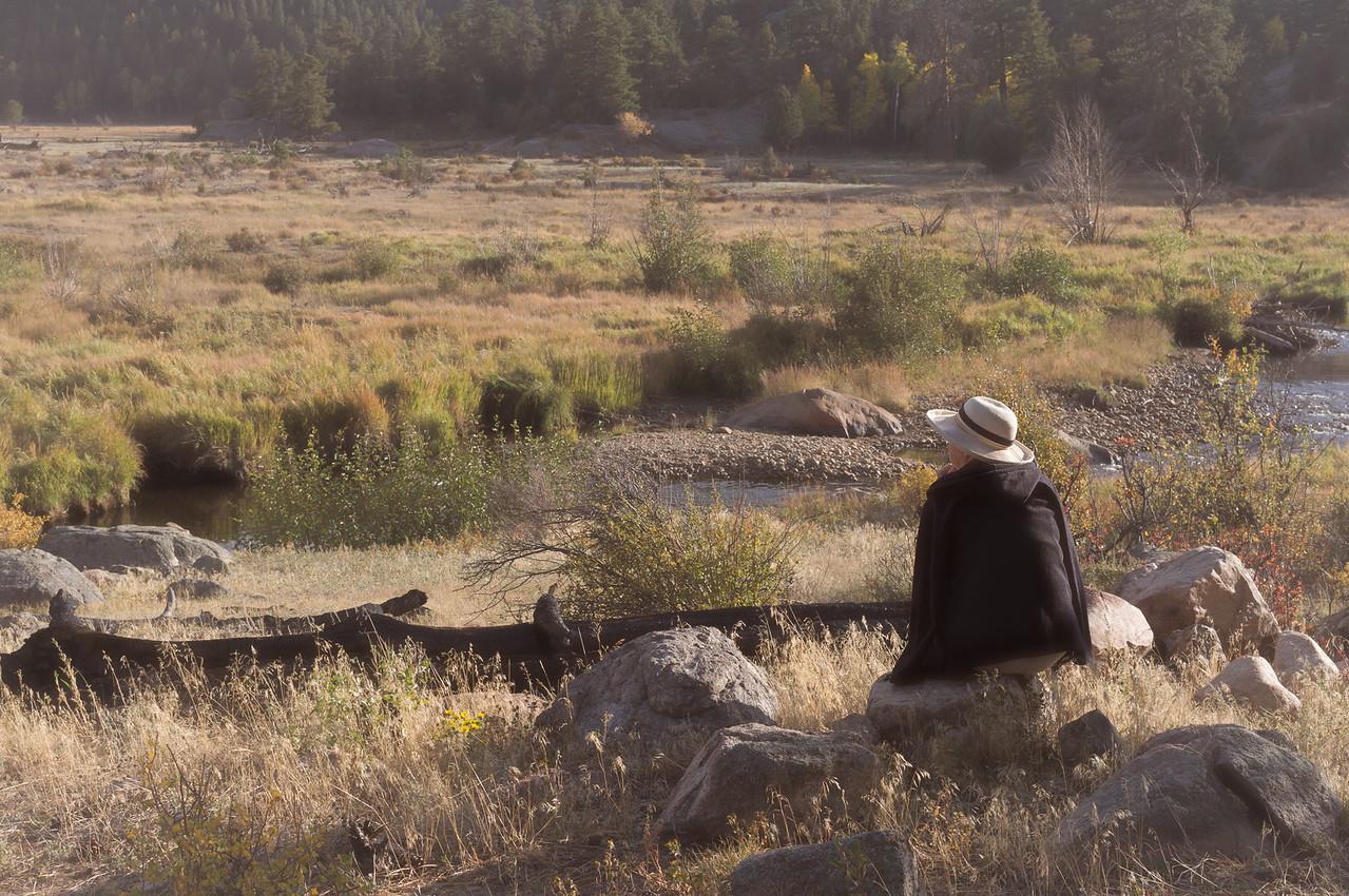 Rita, near the Moraine Campground, Rocky Mountain National Park, Colorado. Soft focus.