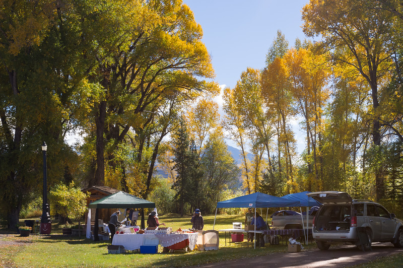 Locals selling art and produce, Yampa, Colorado.