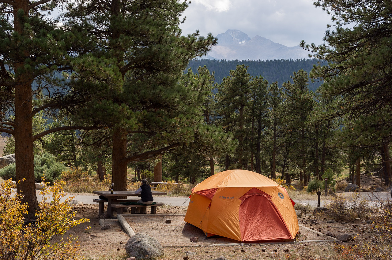 Our campsite in Loop D of the Moraine Campground, Rocky Mountain National Park, Colorado.