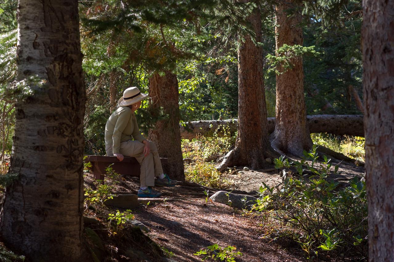 Rita beside Middle Saint Vrain Creek, Camp Dick, Roosevelt National Forest.