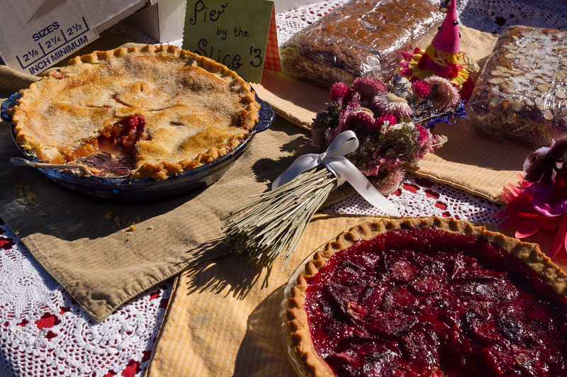 Pies, farmer's market, Yampa, Colorado. For the record, one is peach and the other strawbeerry plum, and both were delicious!