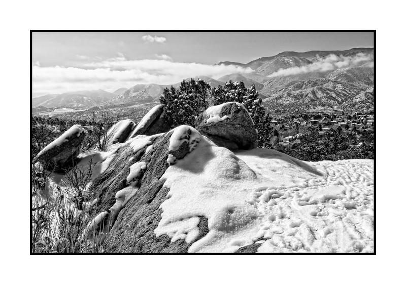 In the Garden of the Gods, looking toward the Front Range in Colorado.