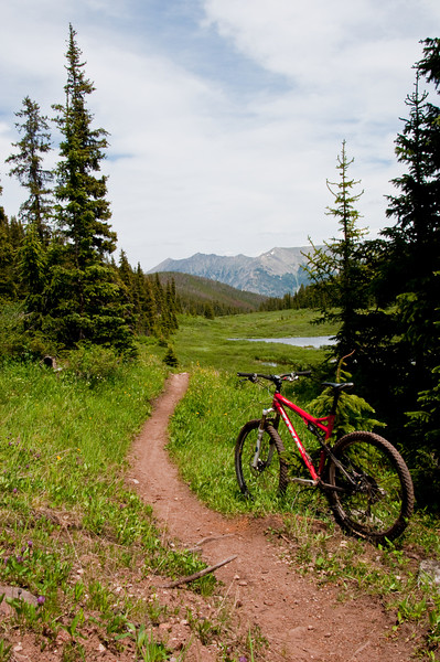 Ten Mile range in the background.  Colorado Trail climbs from the west slope of the Ten Mile Range to Searle Pass.