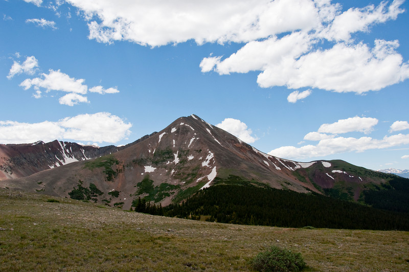 Mt, Guyot - South of Georgia Pass.  Around 12,500 feet.  This mountain is on your left shoulder as you crest the ridge.