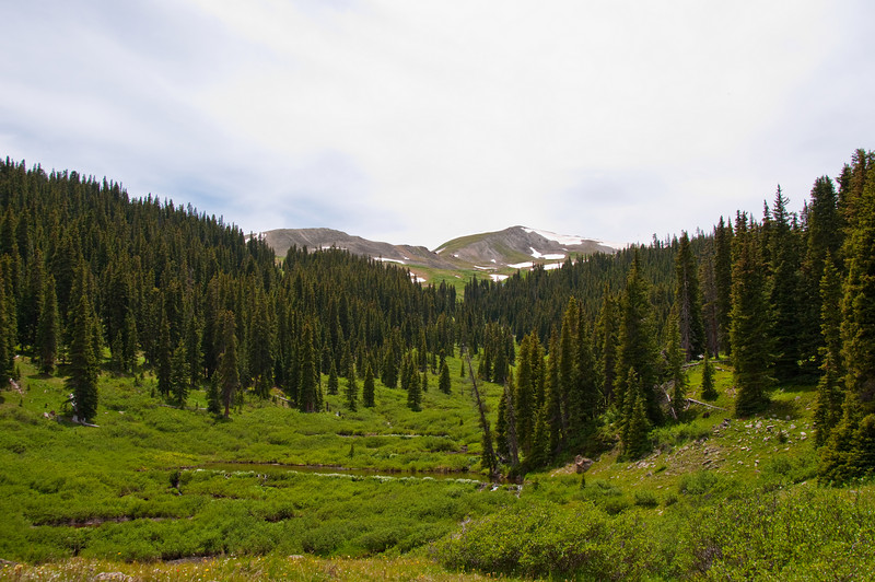 Colorado Trail - Climbing up from Copper Mountain to Searle Pass.  Beaver ponds all along the hanging creek valley.