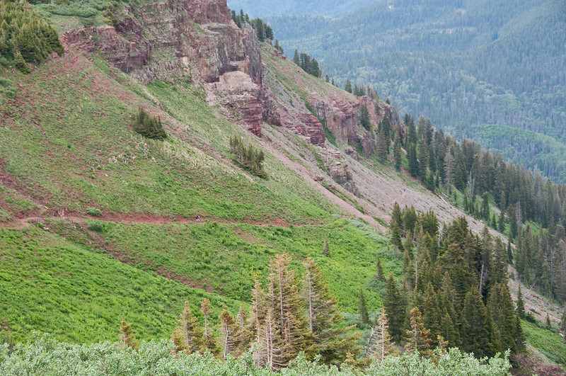 Colorado Trail descending from Kennebec Pass.  There are riders on the red dirt and talas sections below.