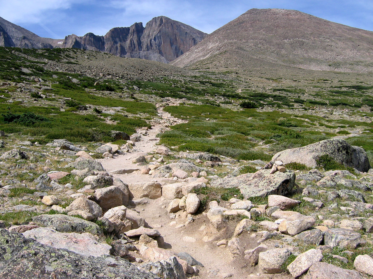 Hike to Chasm Lake: Well above the treeline, the trail continues.