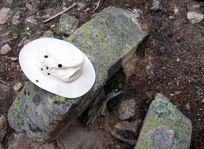 Hike to Chasm Lake: Not all that useful in the woods, the hat, but it will come in handy later on.