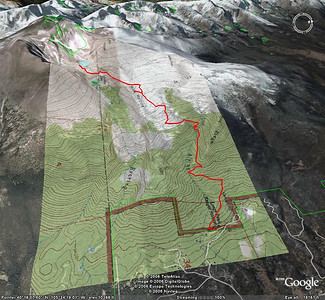 Hike to Chasm Lake: This is a snapshot of the Google Earth file that tracks our hike. It's 4.2 miles one way, has an elevation gain of about 2,400 feet, and is well marked. Chasm Lake is at about 11,800 feet, tucked at the base of Long's Peak.