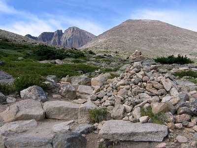Hike to Chasm Lake: Some cairns are bigger than others.