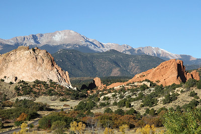 """Mountains just west of the city of Colorado Springs in """"Valley of the Gods"""" area. Pikes Peak in background at 14,115 feet which was the inspiration for song """"America the Beautiful"""""""