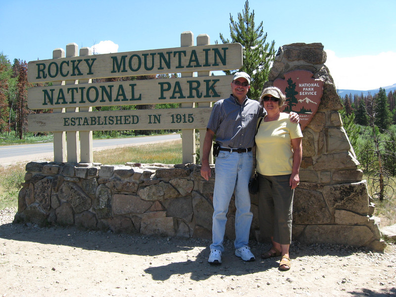 John & Susan at entrance to Rocky Mountain National Park