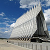 The Cadet Chapel at the US Air Force Academy outside Colorado Springs. The unique architecture of this beautiful building is very striking and recognizable. The top floor of the chapel (on this side, anyway) is the Protestant chapel while the underneath is the Catholic chapel. There is a Jewish Synagogue and Buddhist temple on the backside.