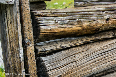 Close-up of old timbers used to build a log cabin at the old Independence townsite of Chipeta City