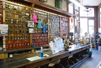 Leadville.  Inside the Western Hardware store.q  Note the old-time bins below the counter -no wasted space.