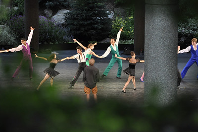 Dancers from the New York City Ballet practice in the Gerald Ford Theater in Vail for a new ballet put to the music of Ray Charles.  The theater has covered seats and seats out in the grass. This photo was taken as we walked past the rehearsal by chance.