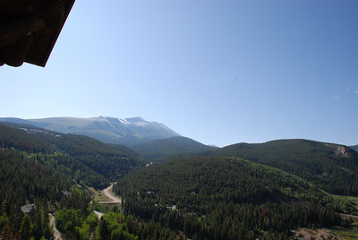 Breckenridge, August 1 -The Lodge at Breckenridge.  View out window towards Baldy Mountain and Boreas Pass