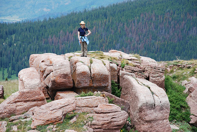 Shrine Ridge. Monday, August 3.  Marsha approaches her marmot friend.