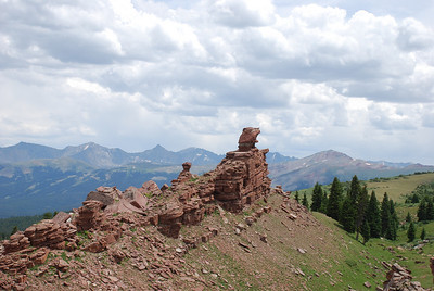 Shrine Ridge. Monday, August 3.  Rock formations on Shrine RIdge