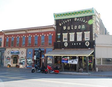 Leadville.  Silver Dollar Saloon, with customary bikes.
