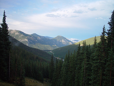 Looking east into a valley in Rocky Mountain National Park.