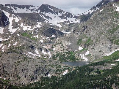 A snow feed lake in the high mountains of Rocky Mountain National Park.