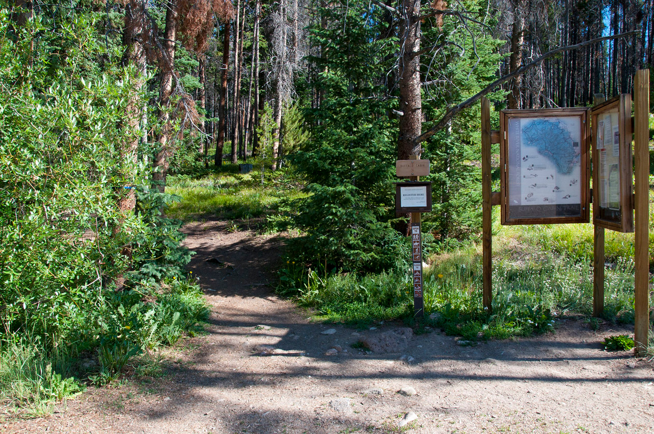 Trail head into the White River National Forest.  Click on Map This to view a satellite map pinpointing where each of where these photos was taken.  GPS attachment on my camera captured the locations.