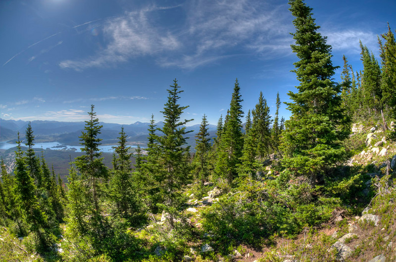 Tone mapped image from a 10.5mm Nikkor Fisheye from Buffalo Mountain looking out toward Dillon, Colorado.