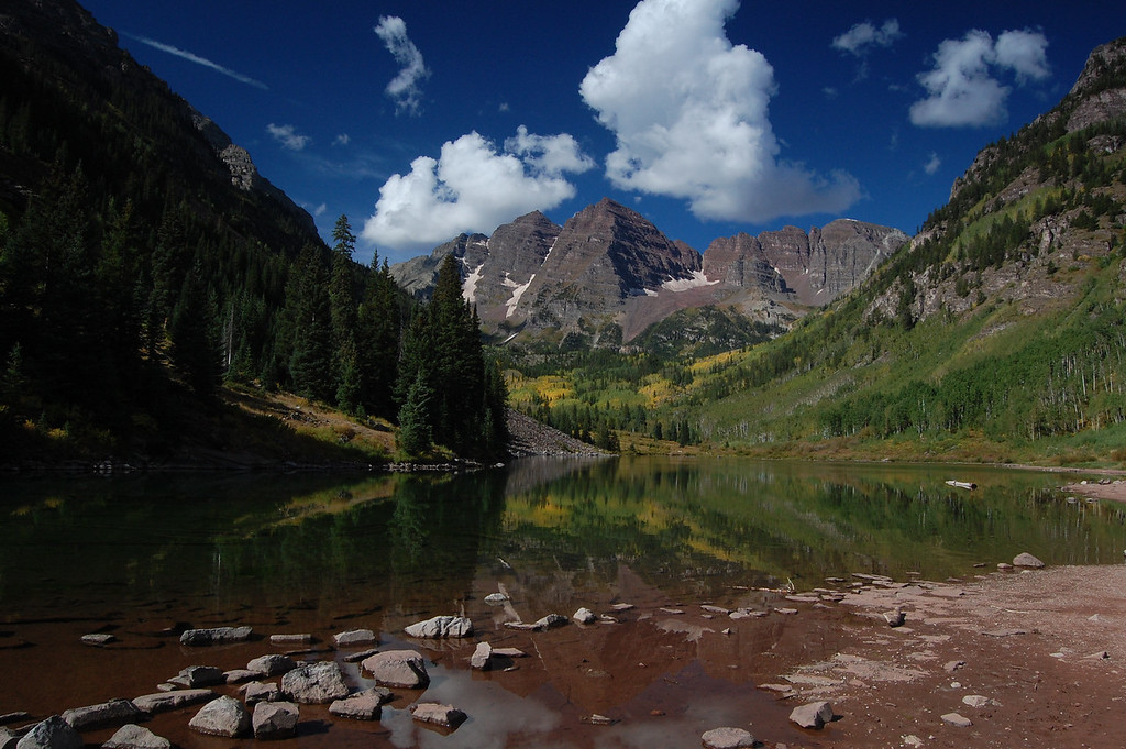 The most photographed mountains in North America.<br /> The Maroon Bells.
