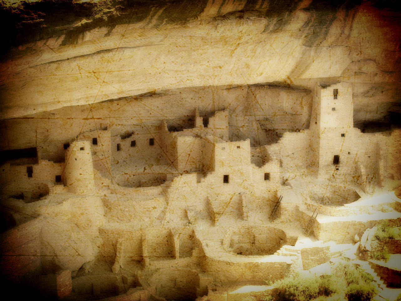 Cliff Palace at Mesa Verde National Park with texture  Order Code: B26