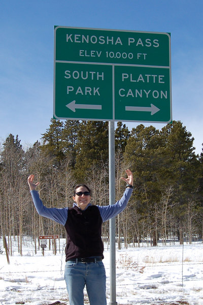 Michelle at Kenosha Pass, CO, at 10,000 feet.