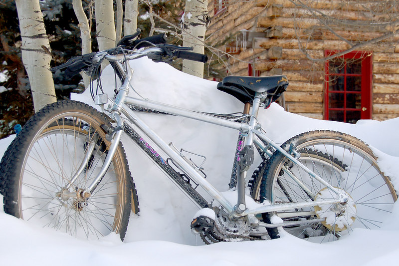 Bikes in a snowbank, Crested Butte, CO