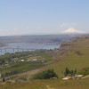 Looking west from the Stonehenge war memorial in Goldendale across Maryhill State Park in the foreground with Mt. Hood in the background.  May 20.