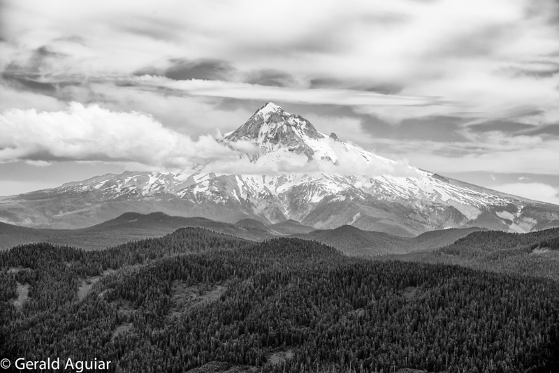 This black and white photo of Mt. Hood was taken on an overcast afternoon.  I ended up liking the overall texture of this image much more than the original one in color.