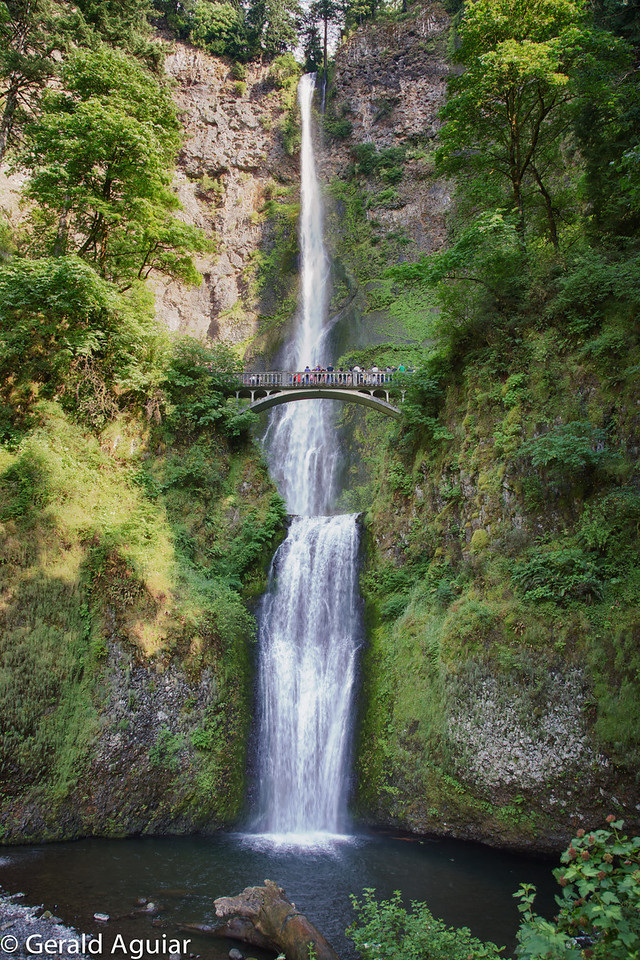 The 611 foot high Multnomah Falls is one of the more visited falls along the Columbia Gorge.  Access to the bridge at the top of the lower falls is a pretty easy walk.