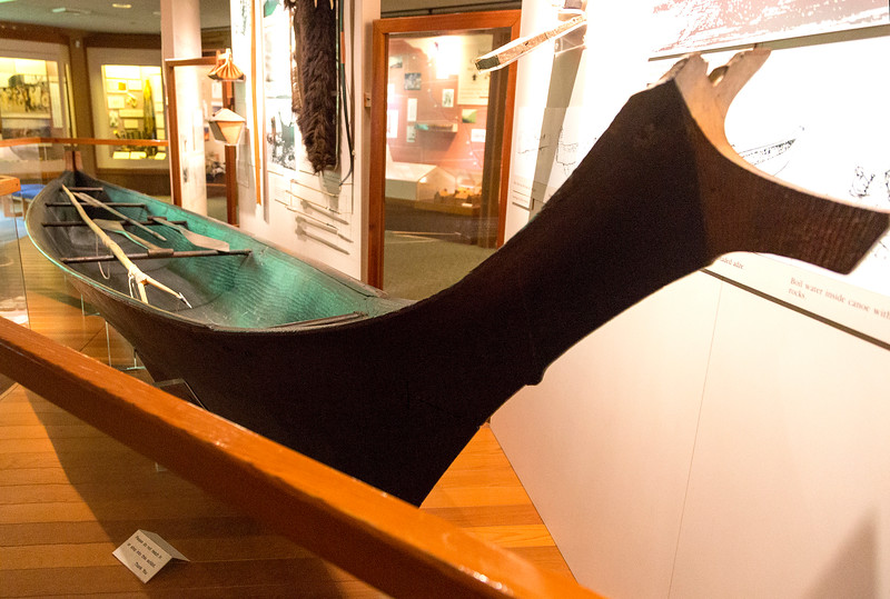 A large hollowed log canoe at the Ft. Clatsop Visitor's Center