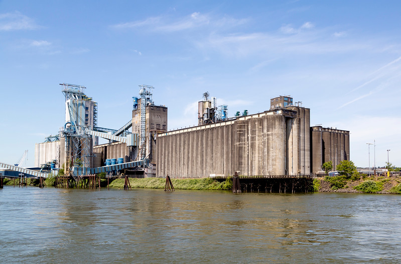 We're off:  First sight: Huge grain silos on the Columbia River.