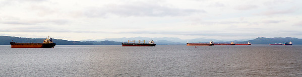 Next morning: Eight empty carriers waiting to go upriver to load.