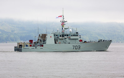 A small naval vessel passes us on the way to the Portland Rose Festival.