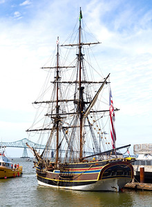 A large schooner replica has now berthed next to our boat.