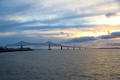 Nightfall behind the 4-1/2 mile Astoria Bridge