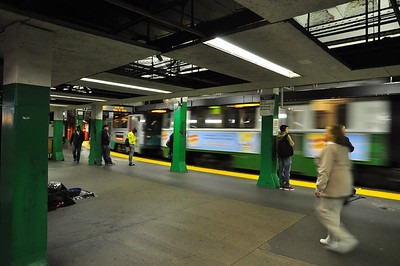 Green line subway platform