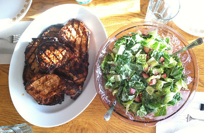 18 March 2011: Bacon in the salad, pork chops on the side.