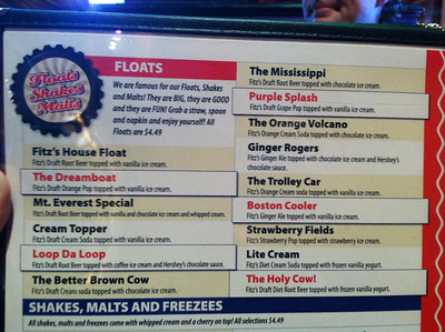 16 March 2011: The menu of floats at Fitz's, my personal favorite place to eat.