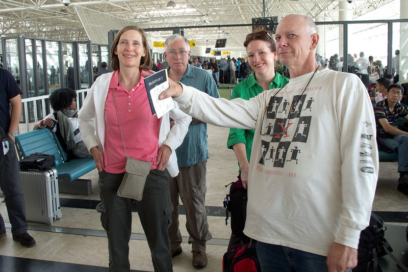 Several hours in the airport in Addis Ababa will make anyone a little goofy.  Dick, fortunately, didn't have far to go.